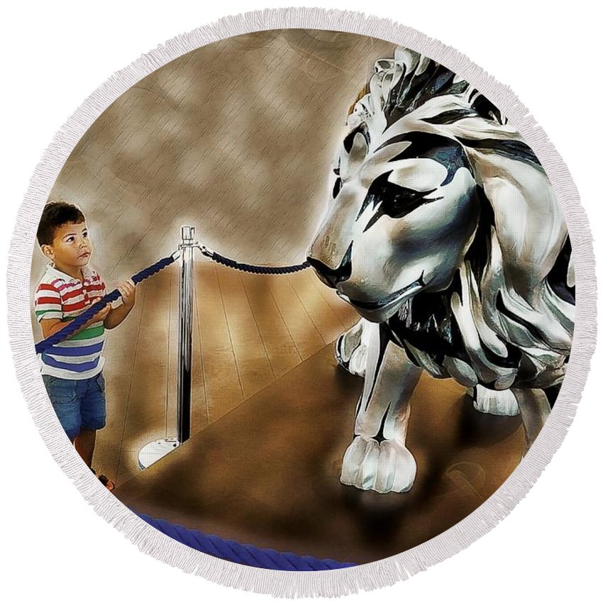 Animals Round Beach Towel featuring the photograph The Boy And The Lion 13 by Jean Francois Gil