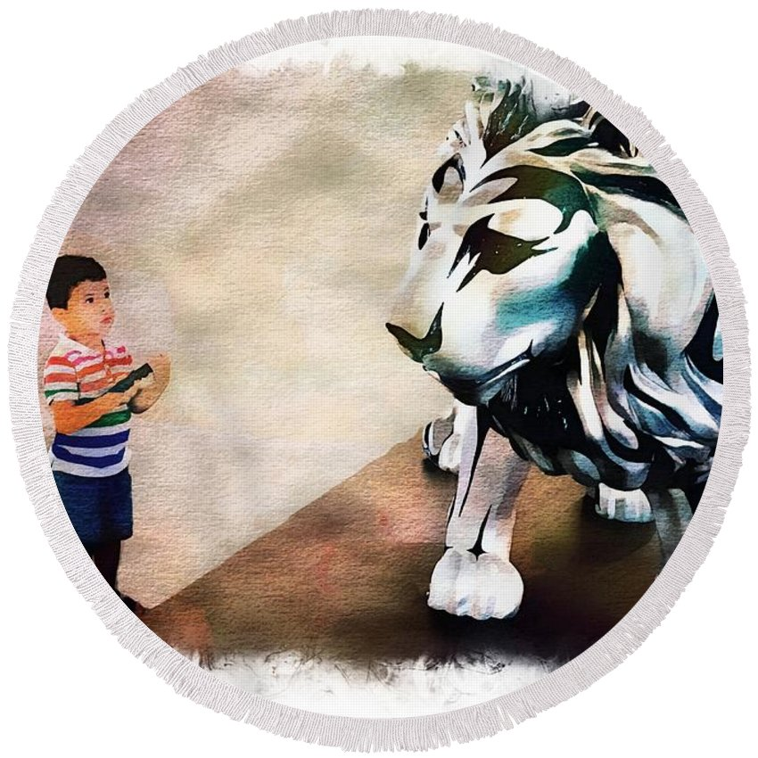 Animals Round Beach Towel featuring the photograph The Boy And The Lion 9 by Jean Francois Gil
