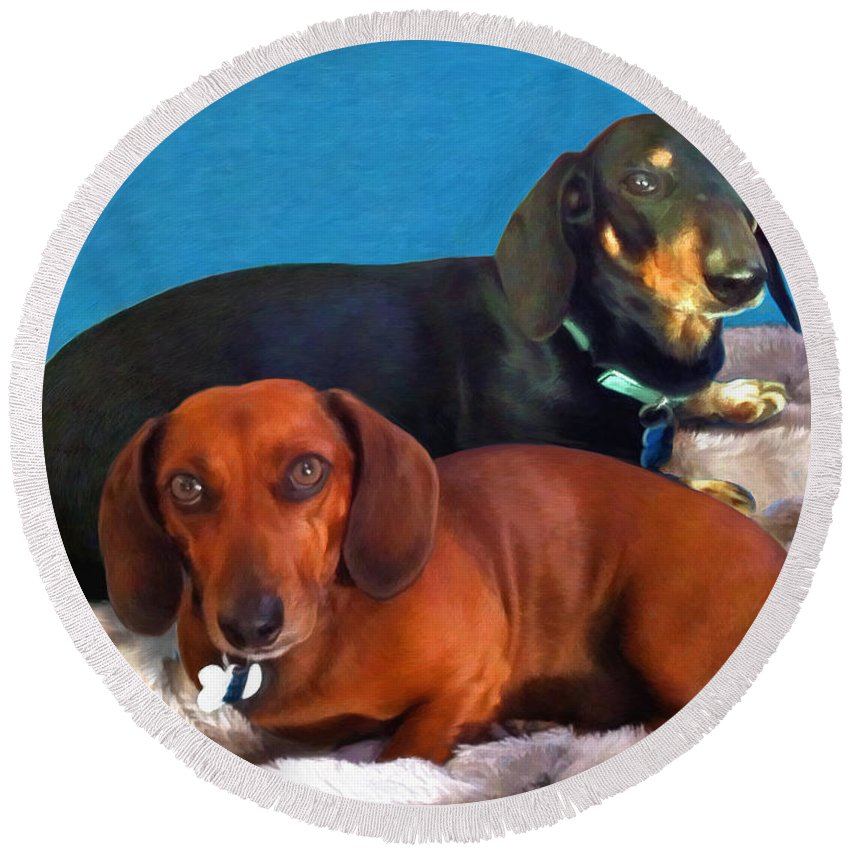 Dogs Round Beach Towel featuring the painting The Boys by Snake Jagger
