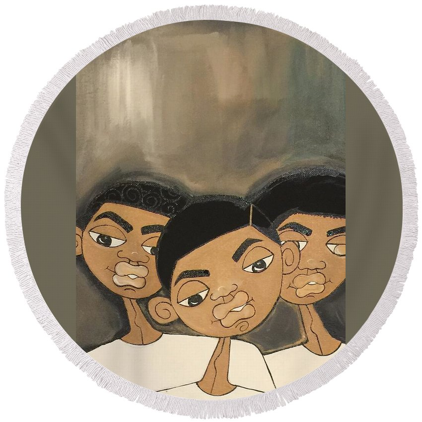 Black Art Round Beach Towel featuring the painting The Boyz In The Hood by Deborah Carrie