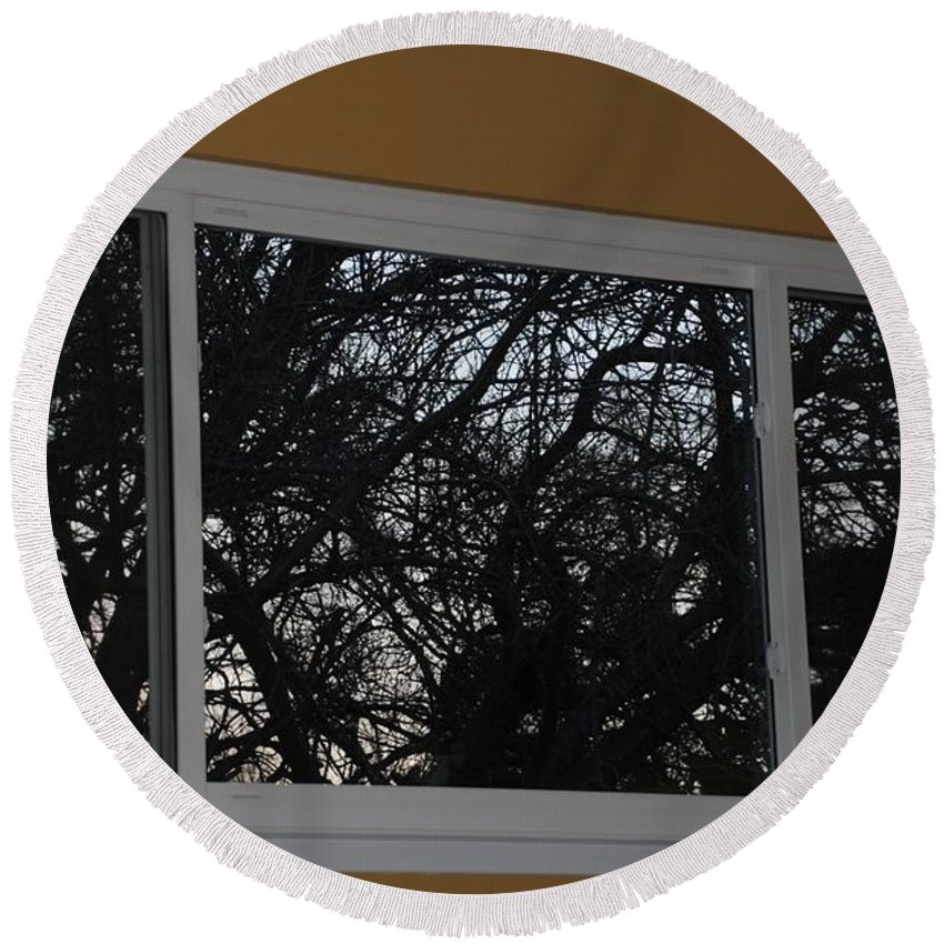 Window Round Beach Towel featuring the photograph The Branch Window by Rob Hans
