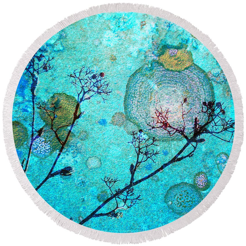 Rust Round Beach Towel featuring the photograph The Branches And The Moon by Tara Turner