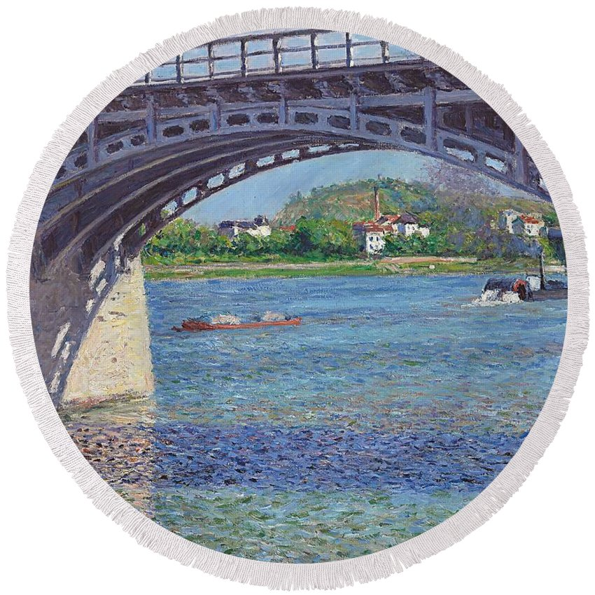 The Bridge At Argenteuil And The Seine Round Beach Towel featuring the painting The Bridge At Argenteuil And The Seine by Gustave Caillebotte