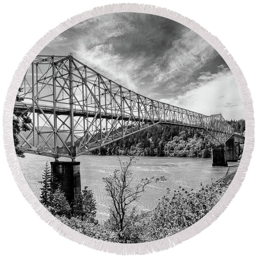 B&w Round Beach Towel featuring the photograph The Bridge Of The Gods by Jack Sassard