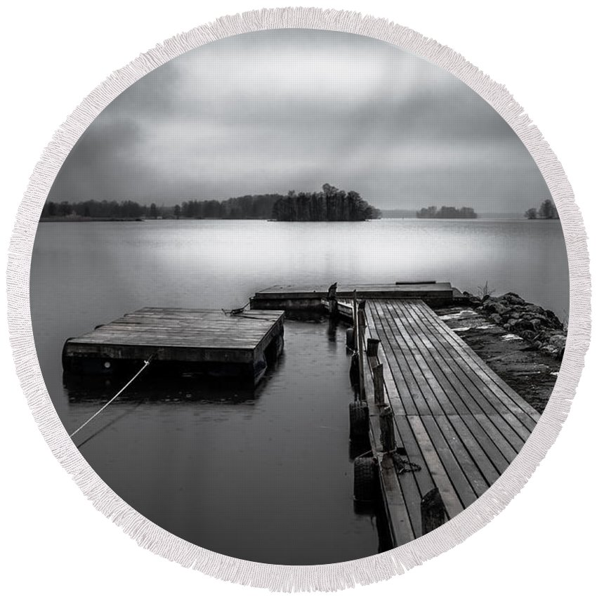 B&w Round Beach Towel featuring the photograph The Bridge To Enlightenment by Ludwig Riml