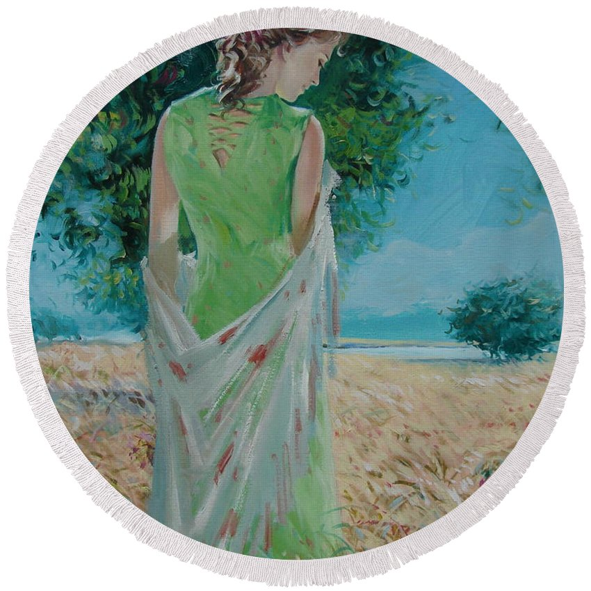 Oil Round Beach Towel featuring the painting The Bright Day by Sergey Ignatenko