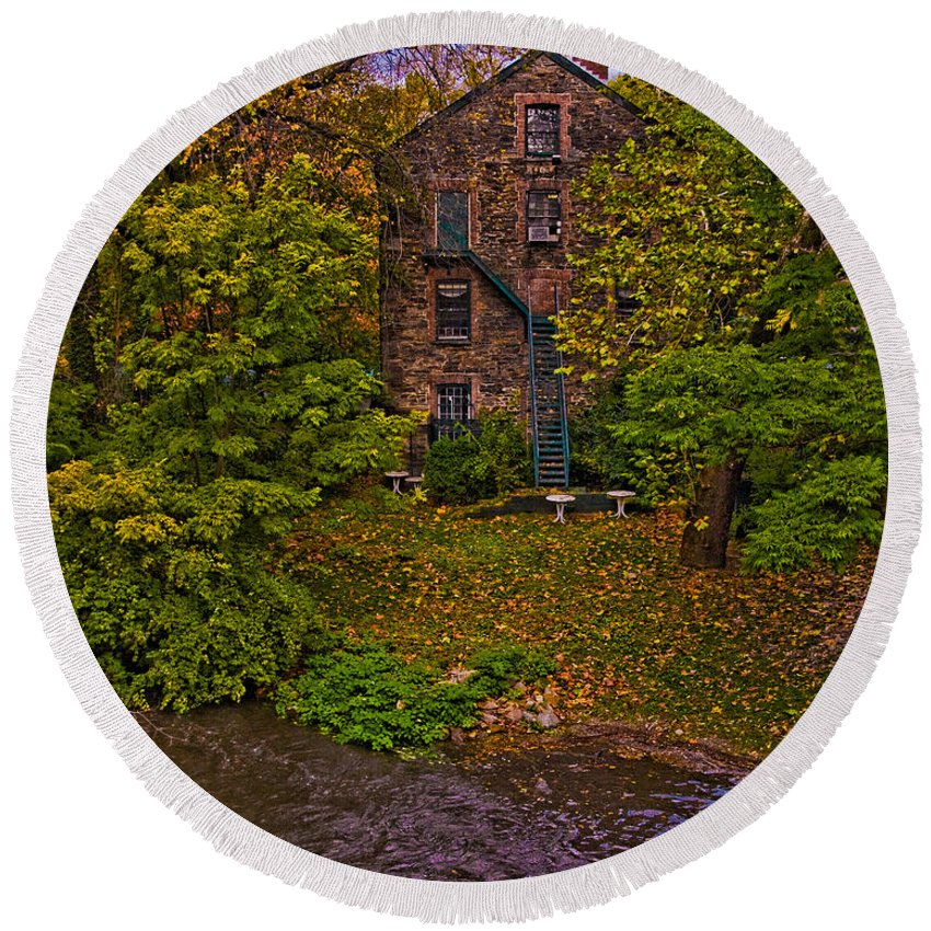Mill Round Beach Towel featuring the photograph The Bronx River Stone Mill by Chris Lord
