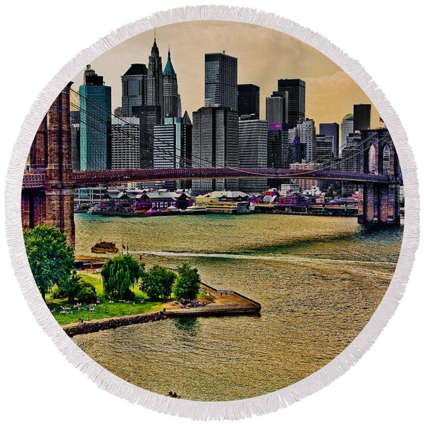 Brooklyn Round Beach Towel featuring the digital art Vintage Brooklyn Bridge by Chris Lord