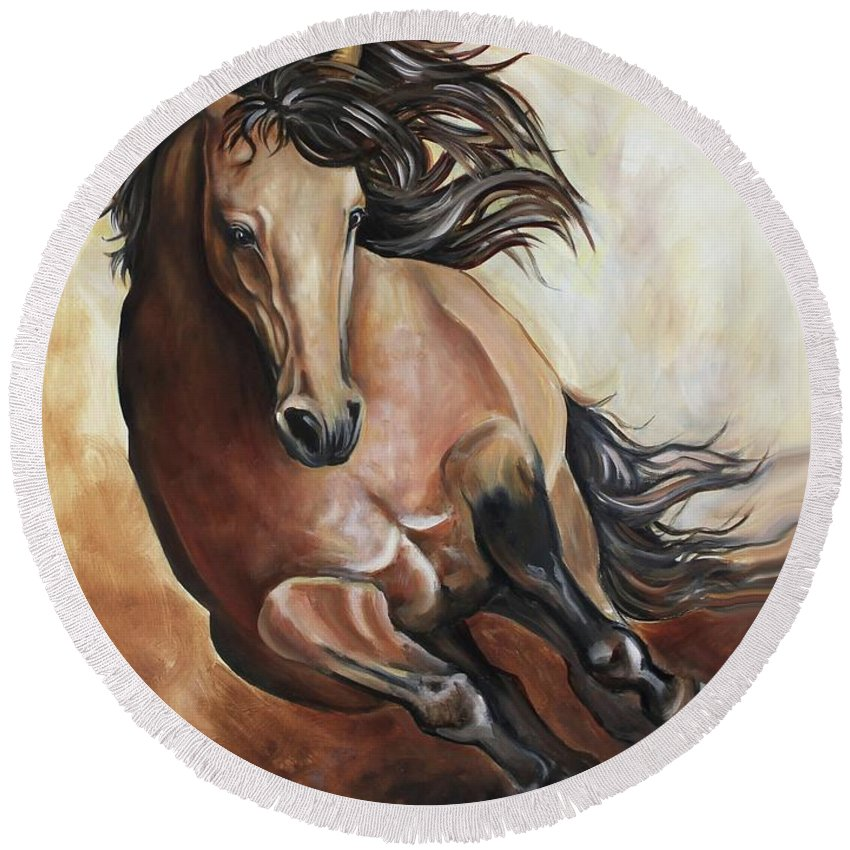 Horse Round Beach Towel featuring the painting The Buckskin Gallop by Debbie Hart