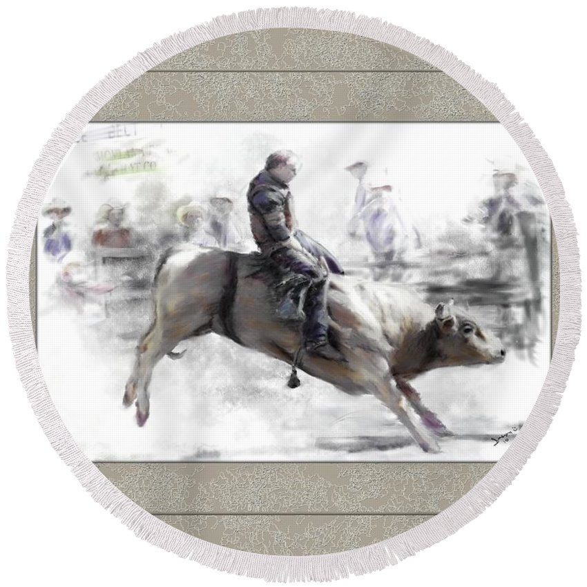 Bull Rider Round Beach Towel featuring the painting The Bull Rider by Susan Kinney