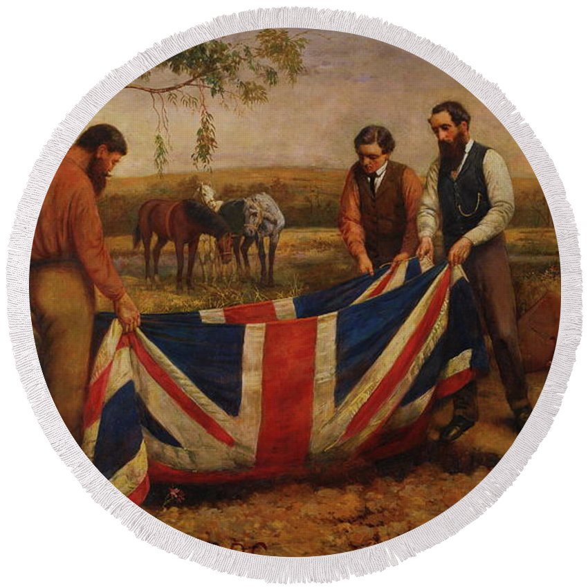 Funeral Round Beach Towel featuring the painting The Burial Of Burke by William Strutt