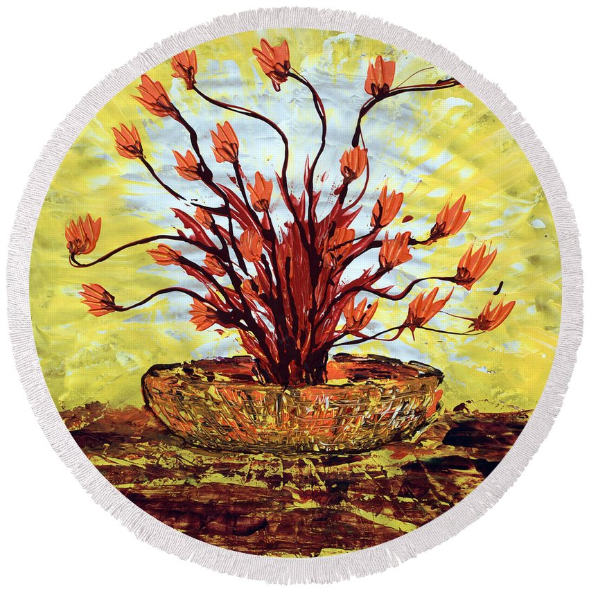 Red Bush Round Beach Towel featuring the painting The Burning Bush by J R Seymour
