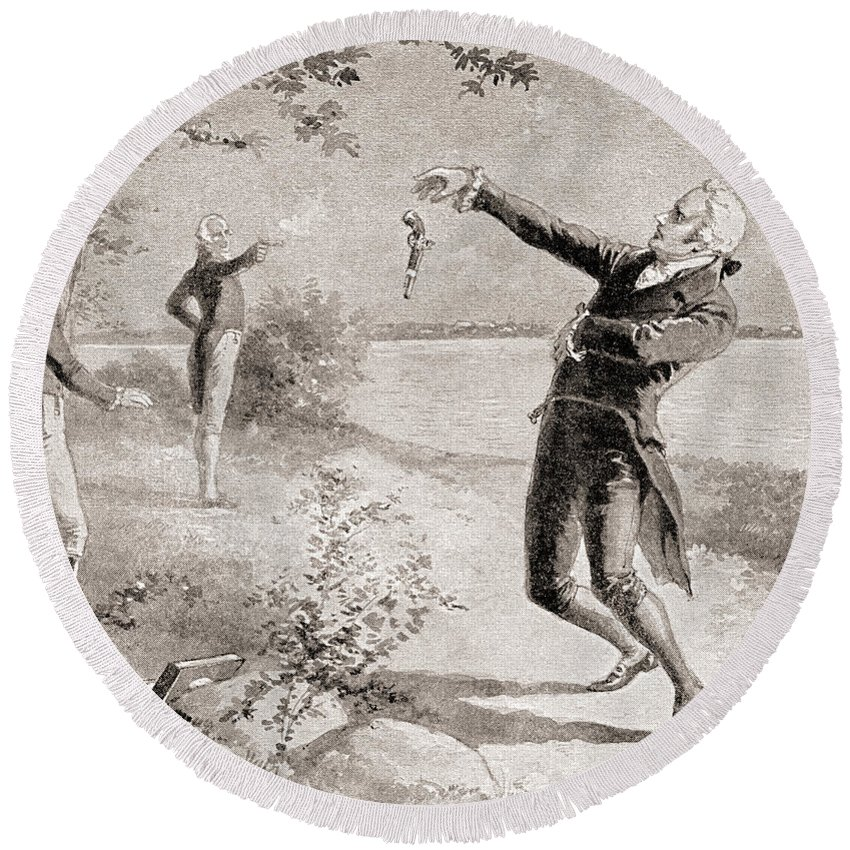 Aaron Burr Round Beach Towel featuring the drawing The Burr Hamilton Duel by Henry Alexander Ogden