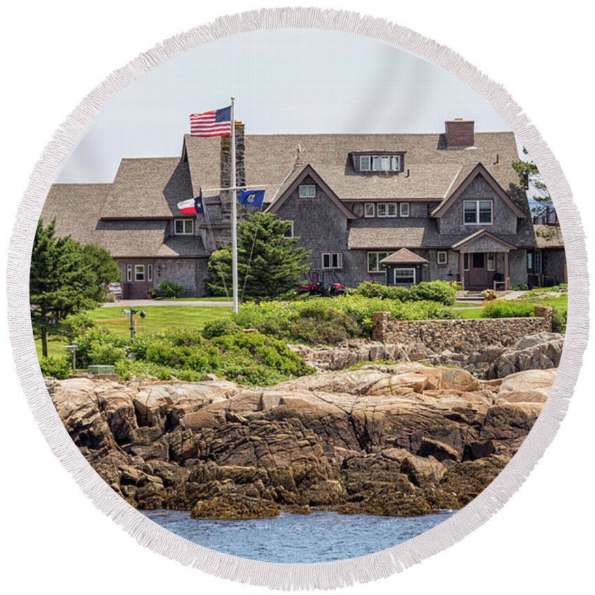 Walkers Point Kennebunkport Maine Round Beach Towel featuring the photograph The Bush Compound Kennebunkport Maine by Brian MacLean