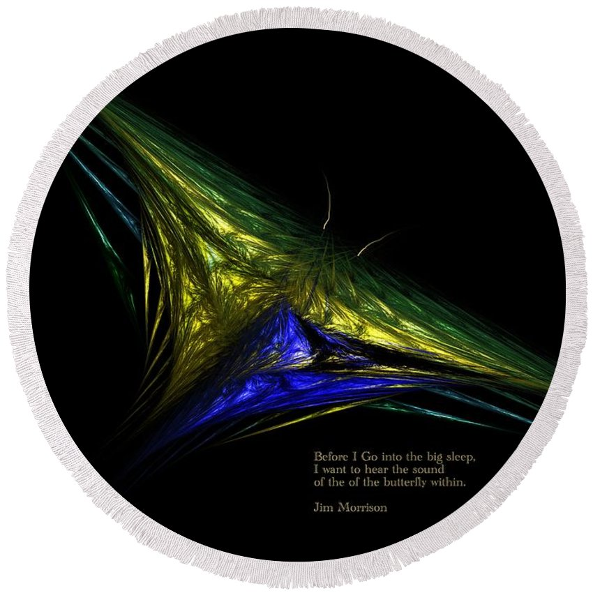 Abstract Digital Painting Round Beach Towel featuring the digital art The Butterfly Within by David Lane