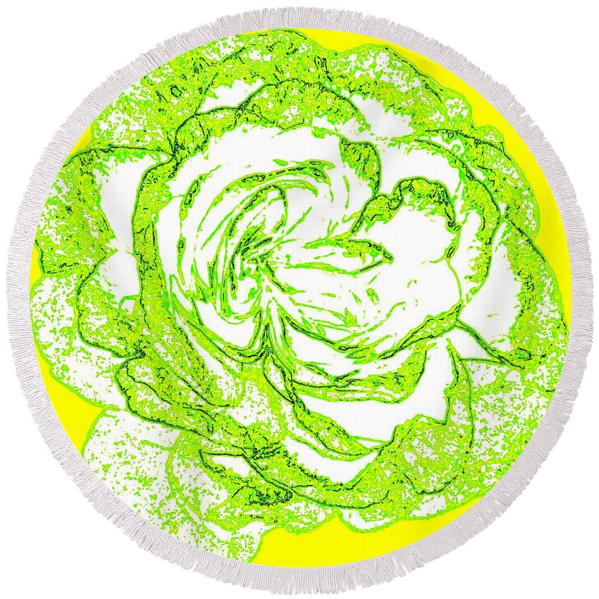Abstract Round Beach Towel featuring the digital art The Cabbage Rose by Will Borden