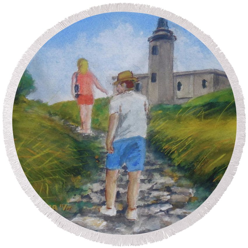 Hike To Light House Cabo Rojo Round Beach Towel featuring the painting The Cabo Rojo Light House In Puerto Rico by Frank Hunter