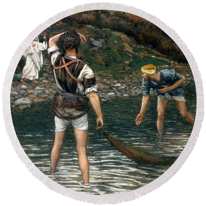 Jesus Round Beach Towel featuring the painting The Calling Of Saint Peter And Saint Andrew by Tissot
