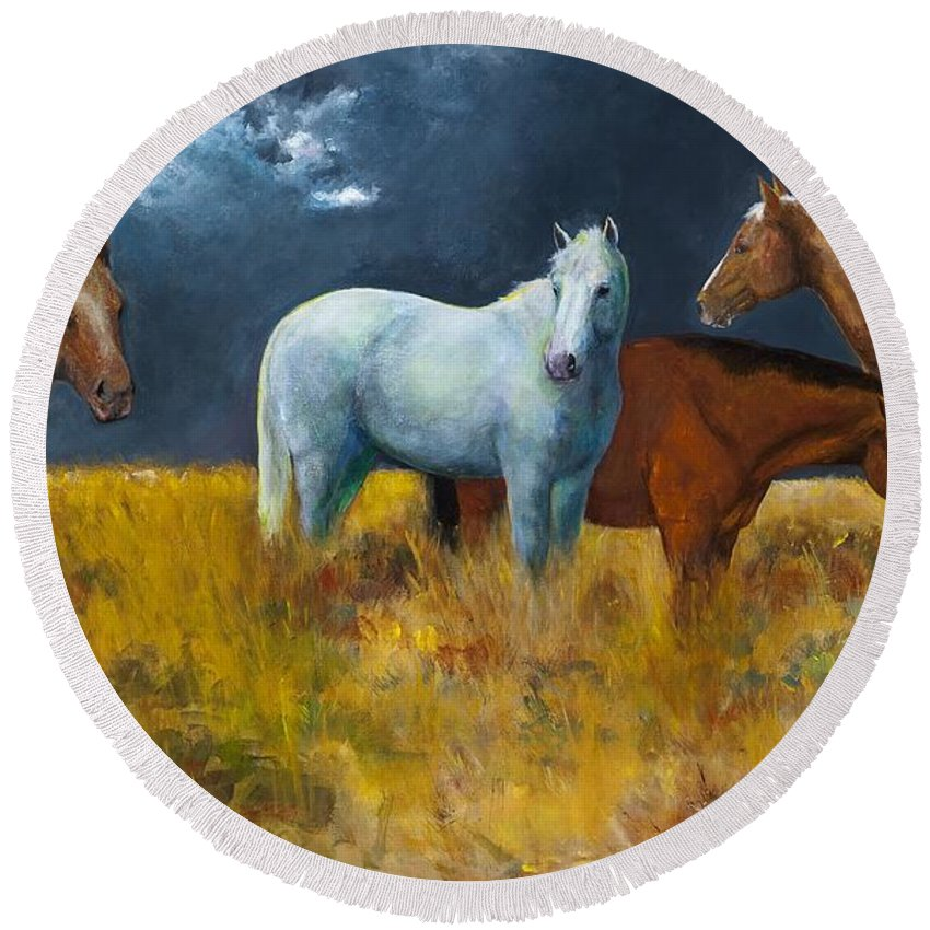 Horses Round Beach Towel featuring the painting The Calm After The Storm by Frances Marino