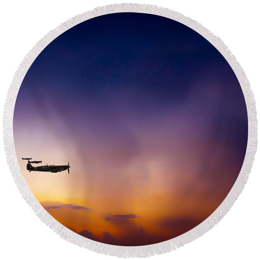 Spitfire Round Beach Towel featuring the digital art The Calm Before The Storm by J Biggadike