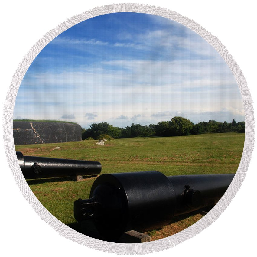 Photography Round Beach Towel featuring the photograph The Cannons At Fort Moultrie In Charleston by Susanne Van Hulst