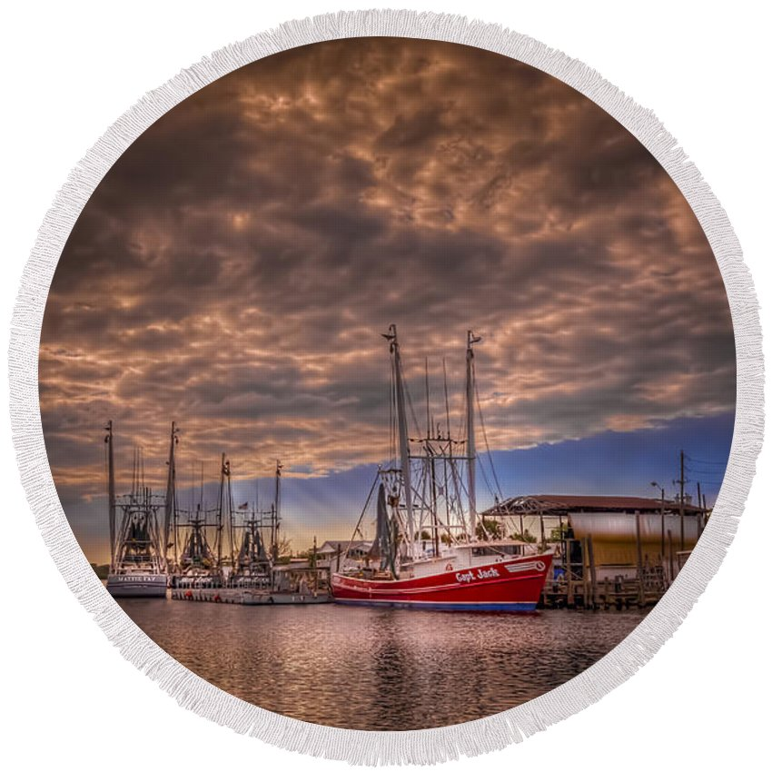 Clouds Round Beach Towel featuring the photograph The Captain Jack by Marvin Spates