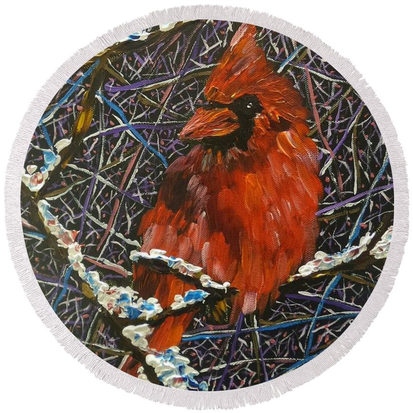 Birds Round Beach Towel featuring the painting The Cardinal by Kari Parkhouse
