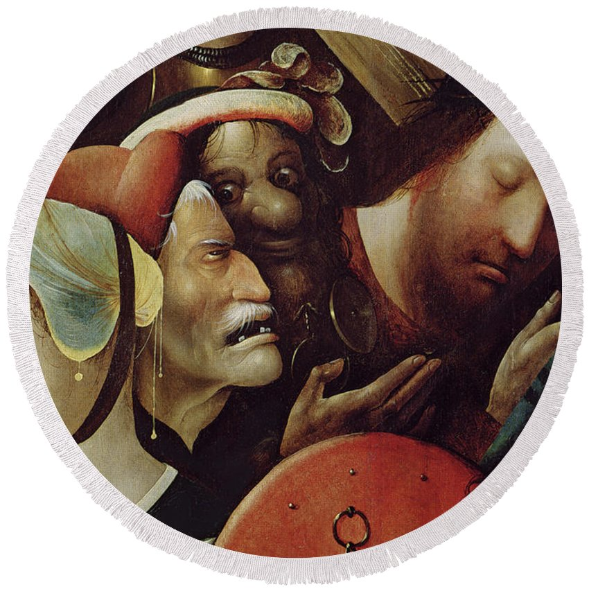 Saint Round Beach Towel featuring the painting The Carrying Of The Cross by Hieronymus Bosch