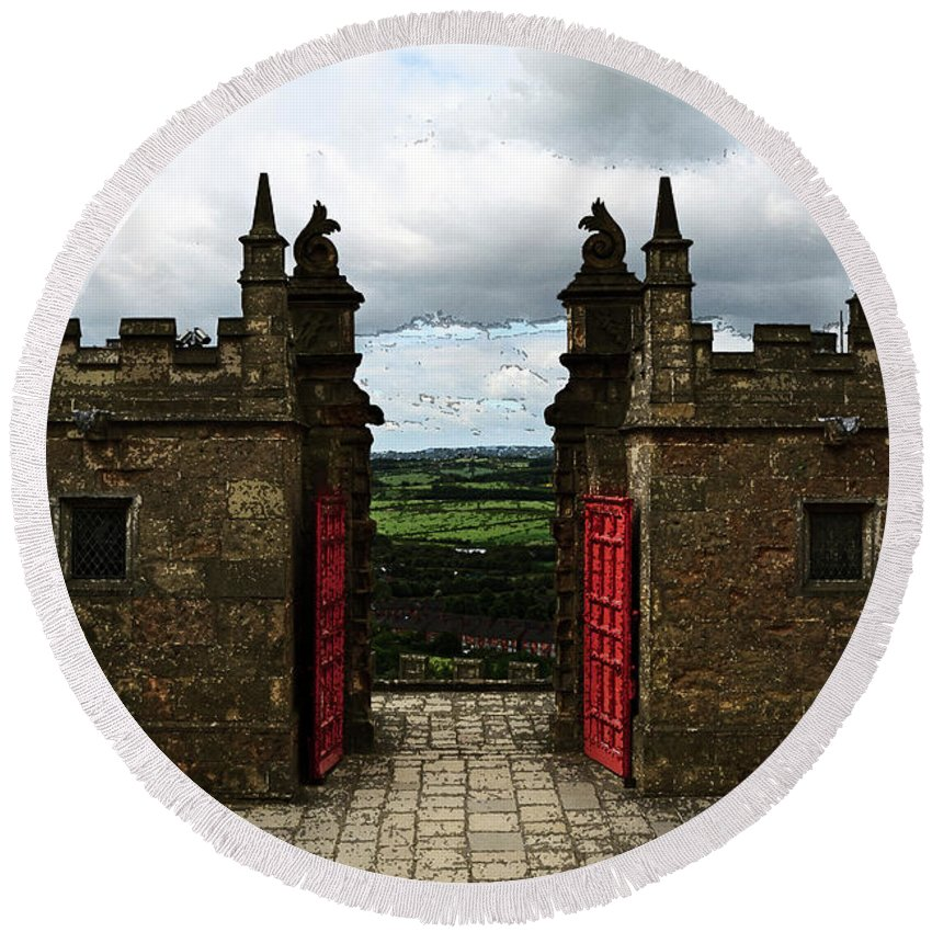 Bolsover Round Beach Towel featuring the photograph The Castle Gates by Louise Heusinkveld