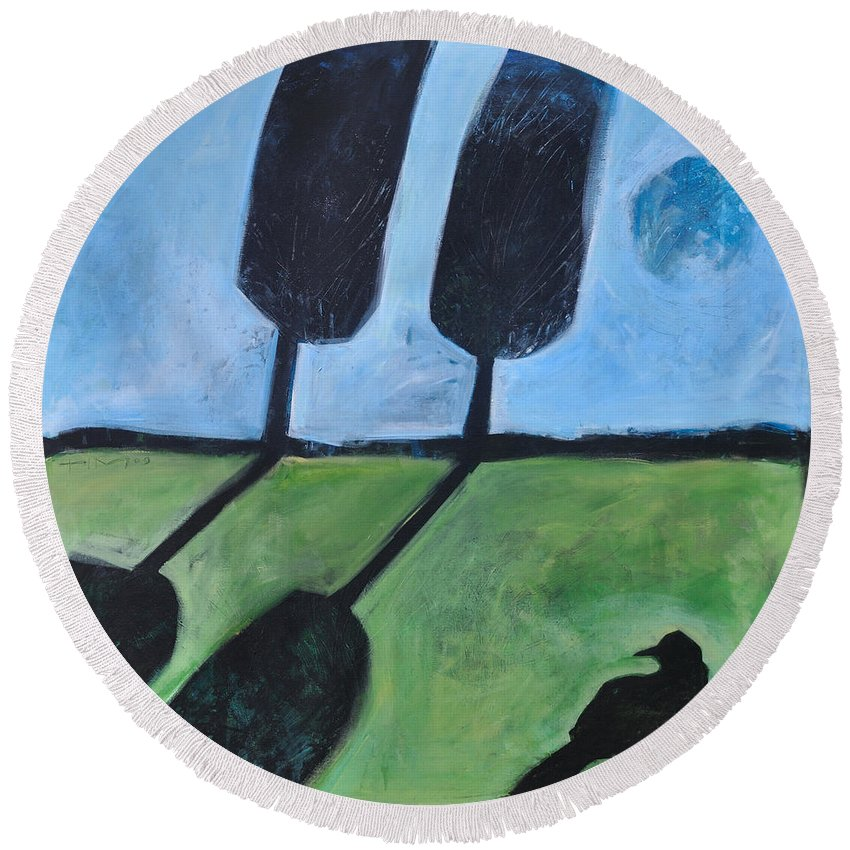 Bird Round Beach Towel featuring the painting The Casual Observer by Tim Nyberg