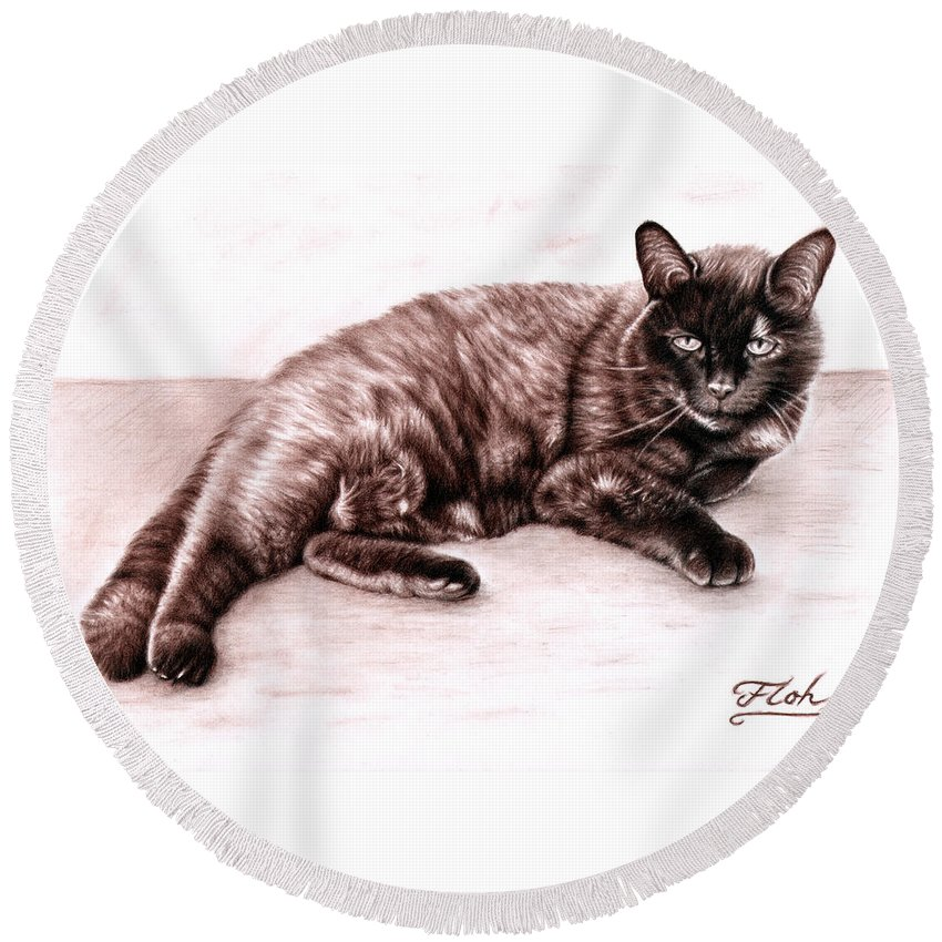 Cat Round Beach Towel featuring the drawing The Cat by Nicole Zeug