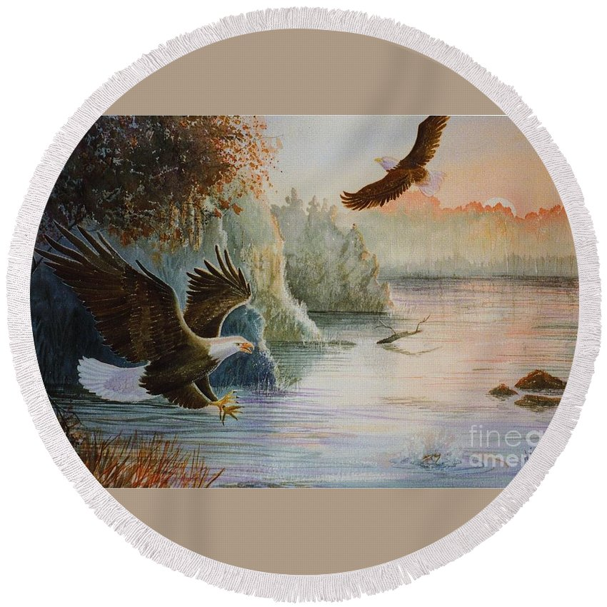 Eagles Round Beach Towel featuring the painting The Catch by Marilyn Smith