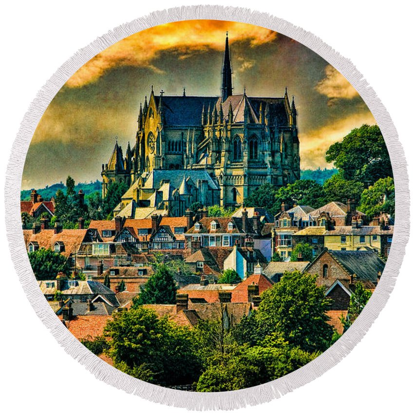 Hdr Round Beach Towel featuring the photograph The Cathedral At Arundel by Chris Lord