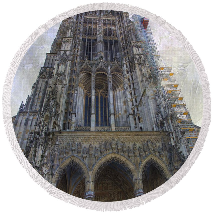 Ron Jones Round Beach Towel featuring the photograph The Cathedral At Ulm by Ron Jones