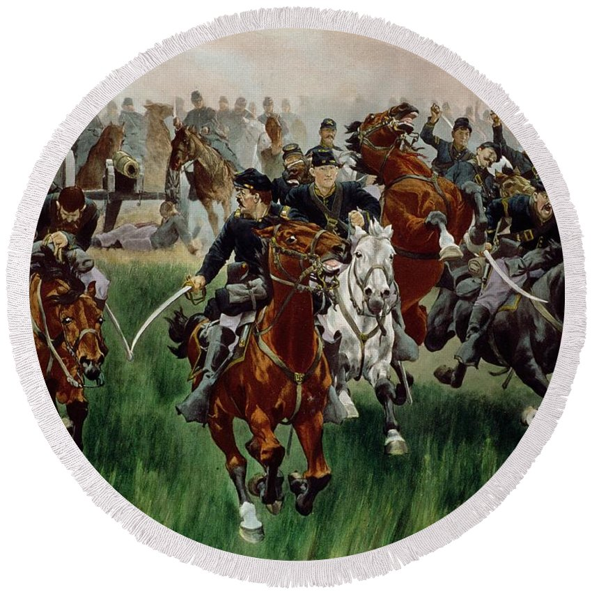 Round Beach Towel featuring the painting The Cavalry by WT Trego