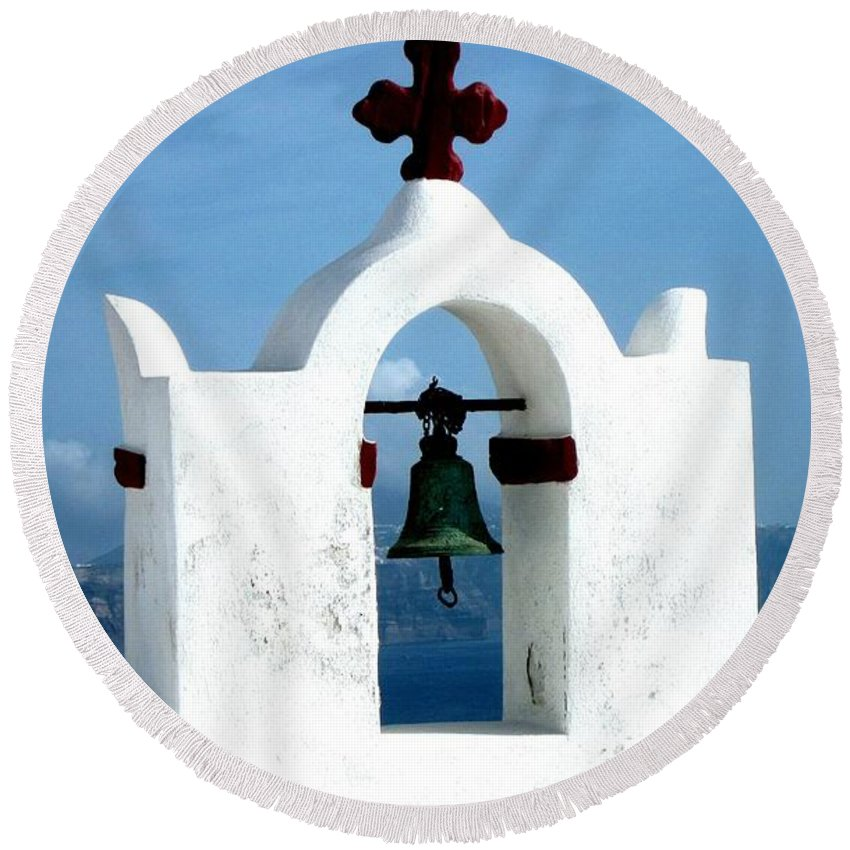 Santorini Round Beach Towel featuring the photograph The Chapel Bell by Karen Norton
