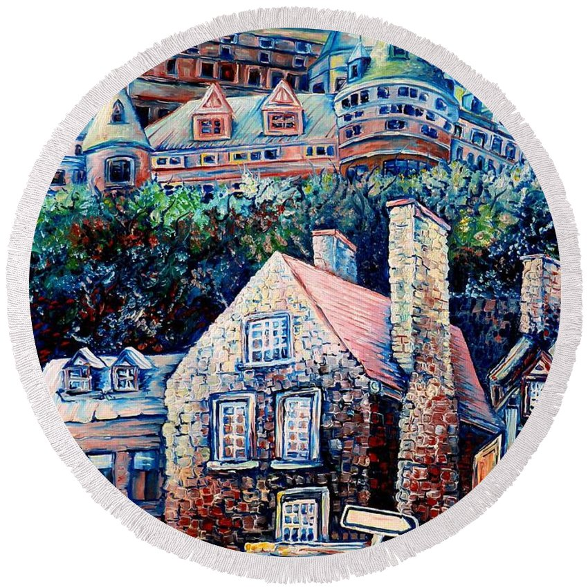 Chateau Frontenac Round Beach Towel featuring the painting The Chateau Frontenac by Carole Spandau