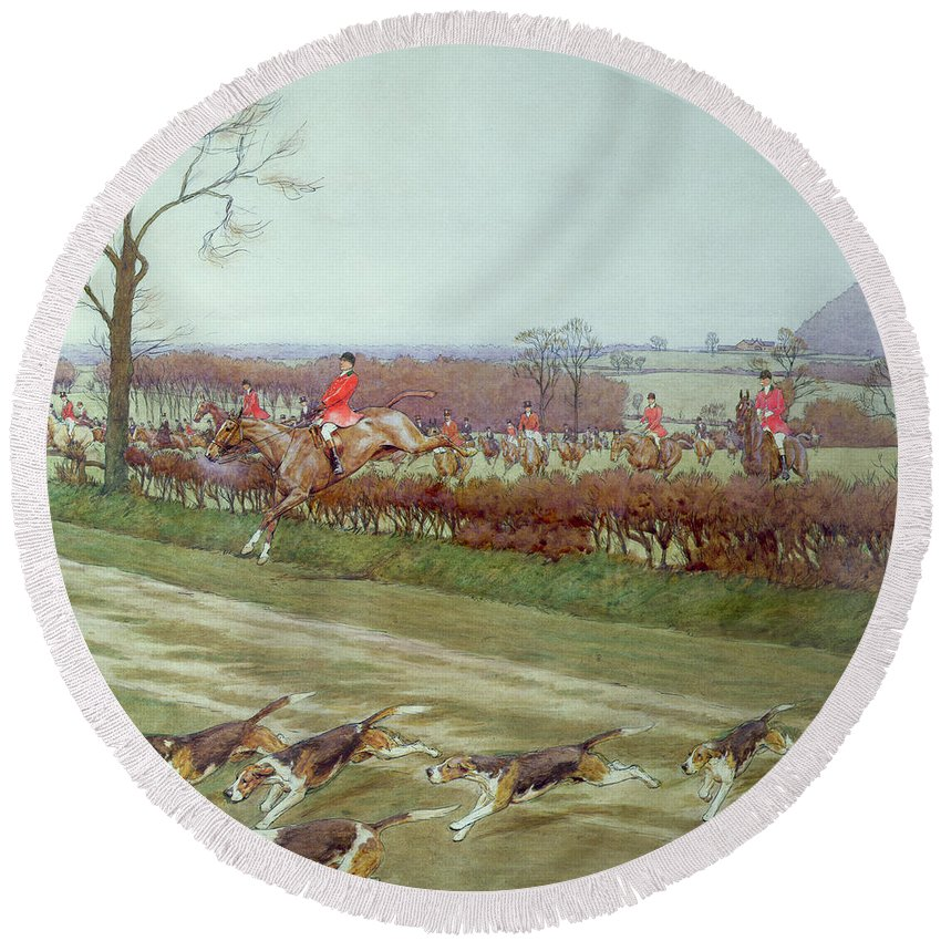 Hunt; Dogs; Hounds; Countryside; Jumping; Hedge; Trees; Horses ;j; Freeman Round Beach Towel featuring the painting The Cheshire Away From Tattenhall by Cecil Charles Windsor Aldin