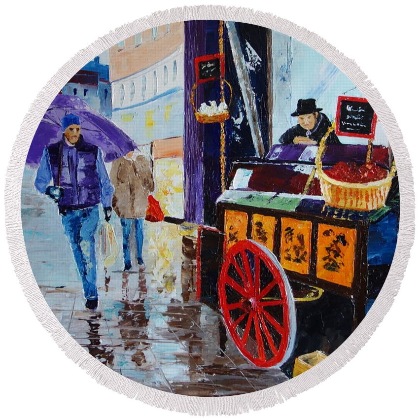 Cityscape Round Beach Towel featuring the painting The Chestnut Seller by Valerie Curtiss