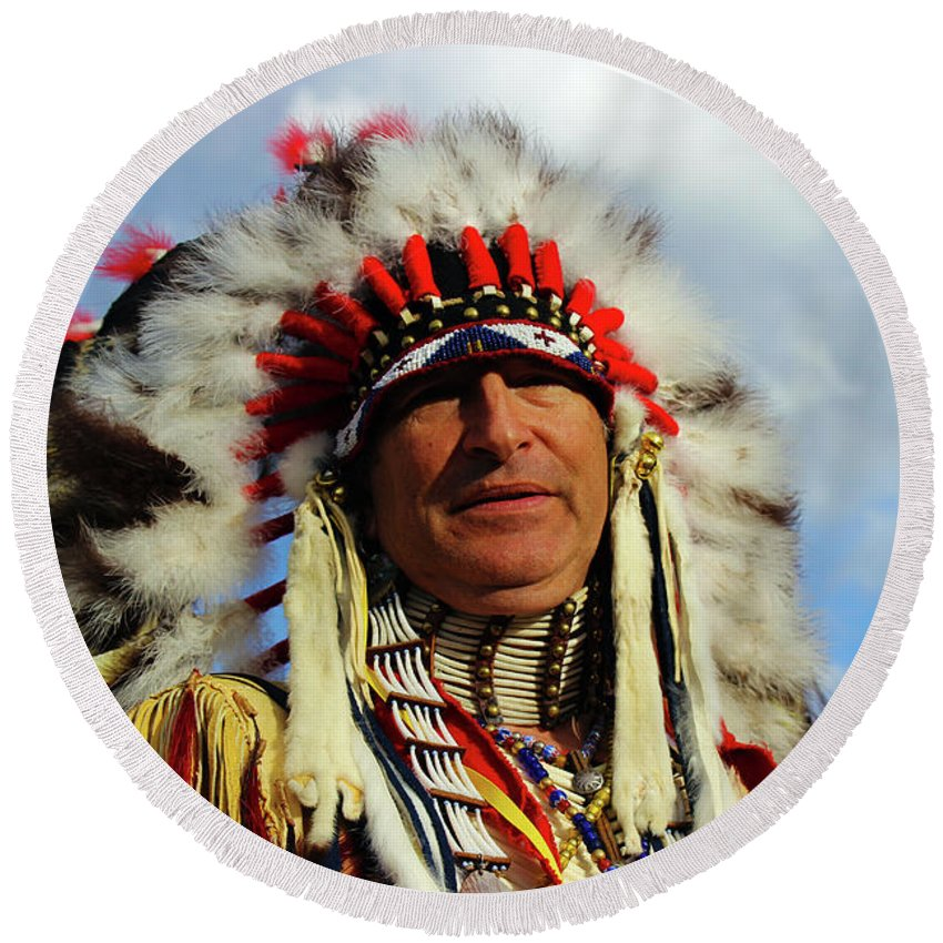 Martin Knifechief Round Beach Towel featuring the photograph The Chief by Samantha Burrow