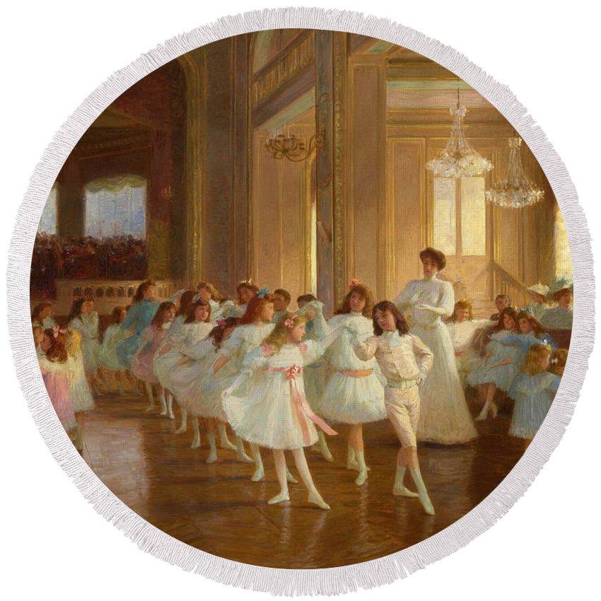 Victor Gabriel Gilbert Round Beach Towel featuring the painting The Children's Dance Recital At The Casino De Dieppe by Victor Gabriel Gilbert