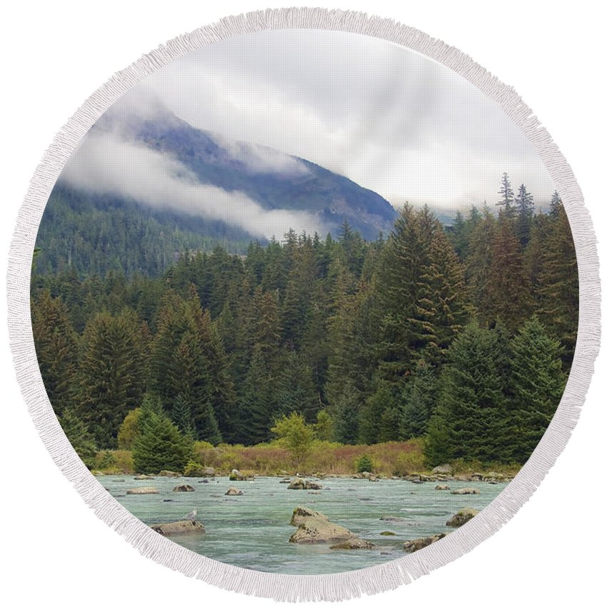 Chilkoot Round Beach Towel featuring the photograph The Chillkoot River 2 by Richard J Cassato