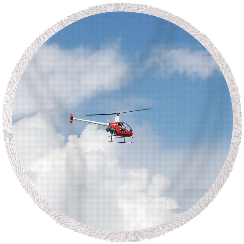 Helocopter Round Beach Towel featuring the photograph The Chopper by Rob Hans