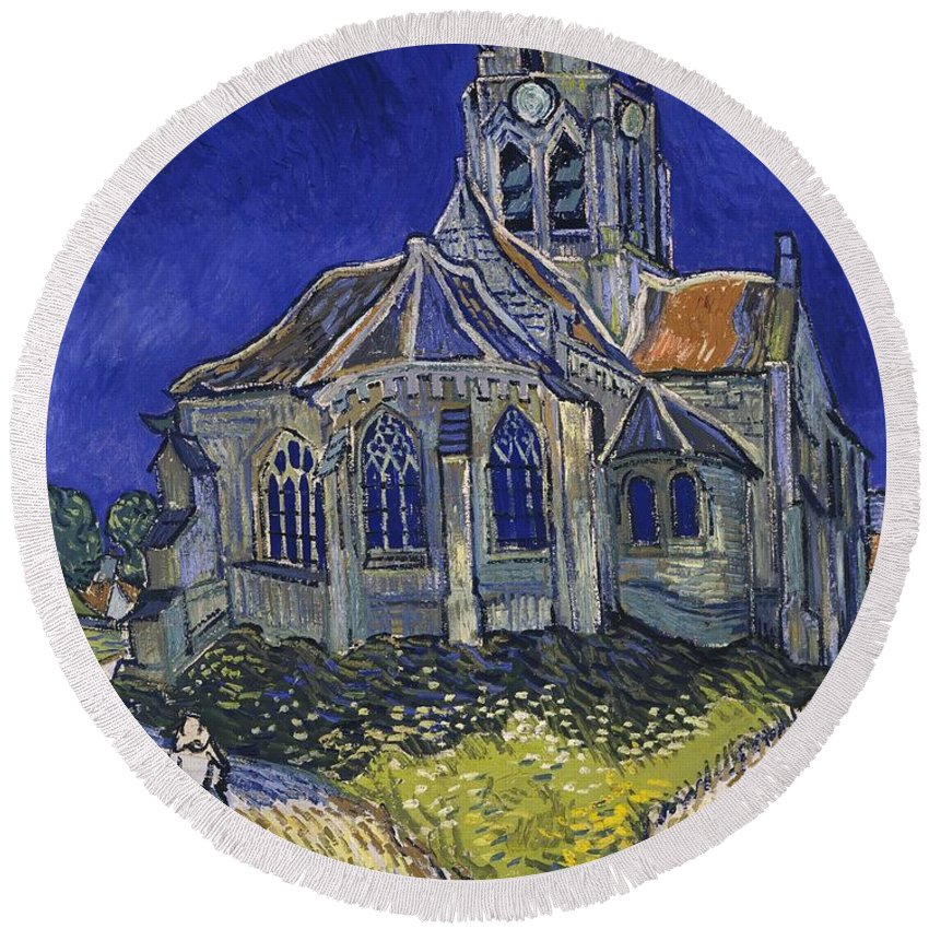 Vincent Van Gogh Round Beach Towel featuring the painting The Church At Auvers by Van Gogh