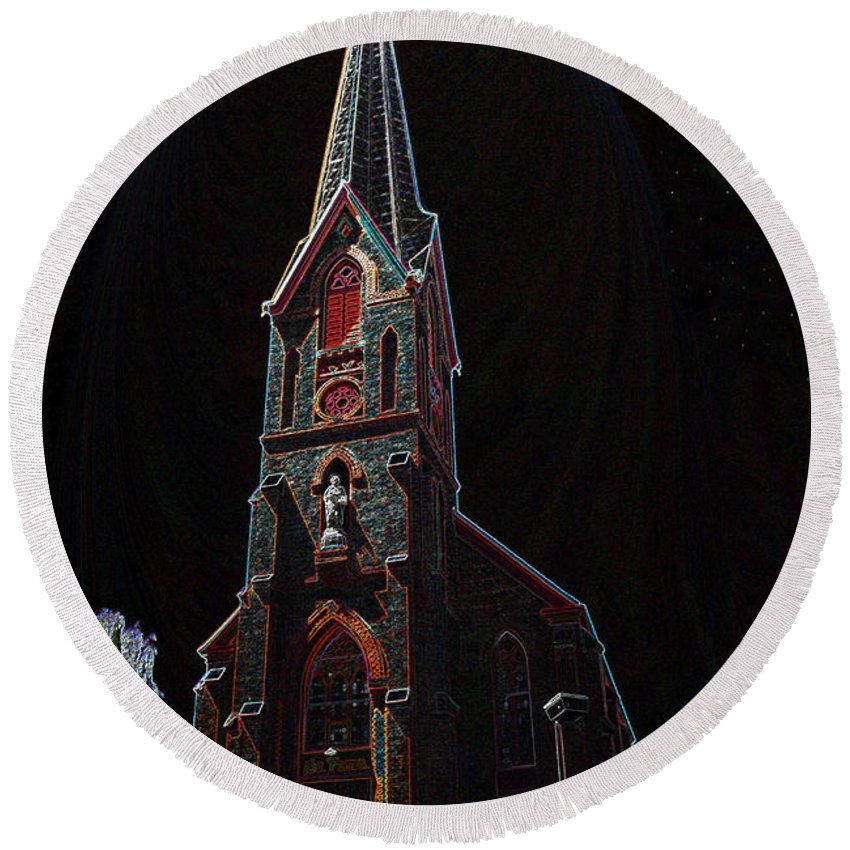 Art Round Beach Towel featuring the painting The Church Of Saint Peter by David Lee Thompson