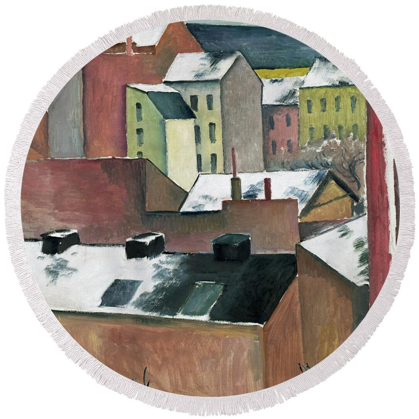 August Macke Round Beach Towel featuring the painting The Church Of St Mary In Bonn In Snow by August Macke