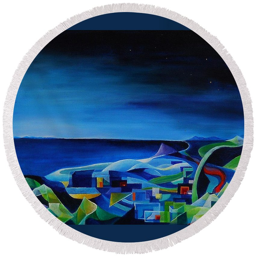 Genova Round Beach Towel featuring the painting The City At The Sea by Wolfgang Schweizer
