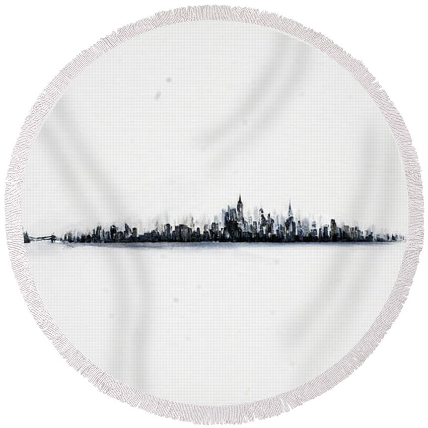 New Round Beach Towel featuring the painting The City New York by Jack Diamond