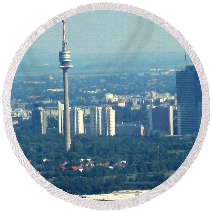 Austria Round Beach Towel featuring the photograph The City Of Vienna Austria by Ian MacDonald