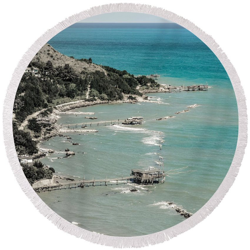 Trabocchi Round Beach Towel featuring the photograph The City Of Waves by Andrea Mazzocchetti